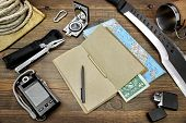 pic of torches  - Rough Wood Desktop With Objects For Travel Expedition Exploration Or Hike - JPG
