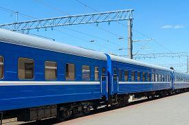 pic of passenger train  - The passenger train at the railway station - JPG