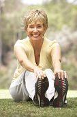 Постер, плакат: Старший женщина упражнения в парке