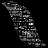 ARCHITECTURE. Word collage on black background. Vector illustration. Illustration with different ass