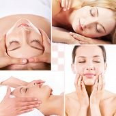 stock photo of facials  - Collage of facial and body massage - JPG