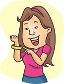 Illustration of a Girl Wearing a Wristband in Support of an Advocacy