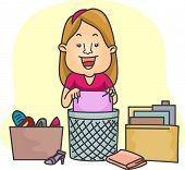 Illustration of a Girl Organizing Her Things
