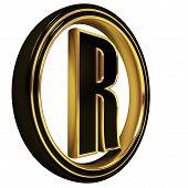 Gold Black Font Letter r