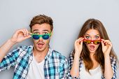 Wow! Surprised Man And Woman In Glasses With Open Mouth poster