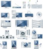 stock photo of subwoofer  - Vector electronic equipment icon set - JPG
