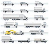 Vector Transport Icon Set. LKW und Transporter