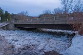 Montpelier Vermont, Bridge With Ice Debris Dam Stacked Up Below