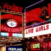 stock photo of lap dancing  - lights and signs at red light district - JPG