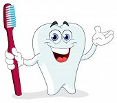 pic of molar tooth  - Vector cartoon of a tooth holding a toothbrush - JPG