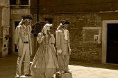 Street actors in suits of 17 centuries. Italy. Venice.