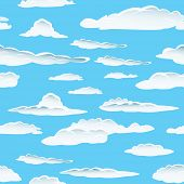 Seamless fluffy cloudy background poster