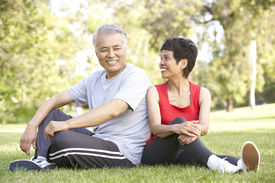 picture of beautiful senior woman  - Senior Couple Resting After Exercise - JPG