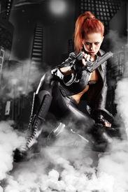 picture of girls guns  - beautiful sexy girl holding gun  - JPG