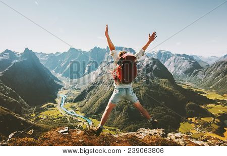 poster of Happy Man Traveler Jumping With Backpack Travel Lifestyle Adventure Concept Active Summer Vacations