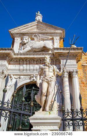 Marble sculpture of Poseidon in
