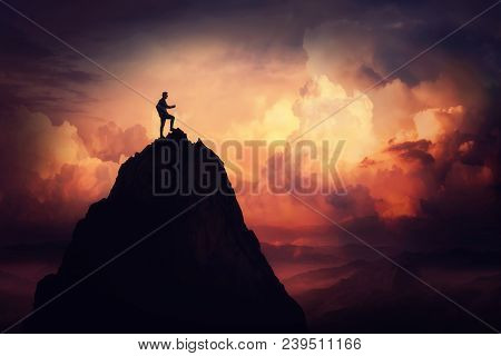 poster of Self Overcome Concept As A Businessman Climbing A Tall Mountain Over The Clouds. Road To Win And Suc