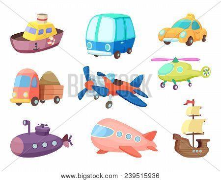 Cartoon Illustrations Of Various Transportation