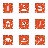 Tourist Entertainment Icons Set. Grunge Set Of 9 Tourist Entertainment Vector Icons For Web Isolated poster