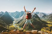 Happy Man Traveler Jumping With Backpack Travel Lifestyle Adventure Concept Active Summer Vacations  poster
