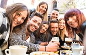 Friends Taking Selfie At Bar Restaurant Drinking Cappuccino And Irish Coffee - People Having Fun Tog poster
