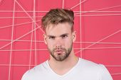 Macho With Beard On Unshaven Face. Bearded Man With Blond Hair And Stylish Haircut. Handsome Guy Wit poster