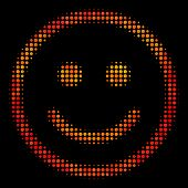 Dotted Glad Smiley Icon. Bright Pictogram In Fire Orange Color Tints On A Black Background. Vector H poster