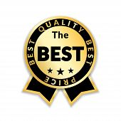 Ribbon Award Best Price Label. Gold Ribbon Award Icon Isolated White Background. Best Quality Golden poster