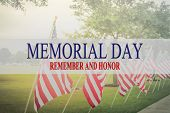 Text Memorial Day And Honor On Row Of Lawn American Flags poster