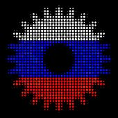 Halftone Cogwheel Icon Colored In Russian State Flag Colors On A Dark Background. Vector Mosaic Of C poster