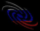 Halftone Galaxy Icon Colored In Russia State Flag Colors On A Dark Background. Vector Pattern Of Gal poster