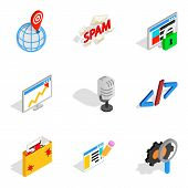 Online Contemporary Icons Set. Isometric Set Of 9 Online Contemporary Vector Icons For Web Isolated  poster