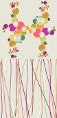 Bolhas de pop coloridas e planos de fundo de linhas.