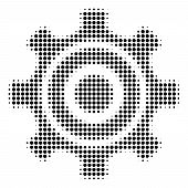 Dot Black Cogwheel Icon. Vector Halftone Mosaic Of Cogwheel Icon Formed From Round Elements. poster