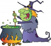 Ugly Halloween Witch Preparing A Potion