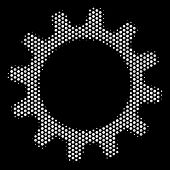 Dotted White Cogwheel Icon On A Black Background. Vector Halftone Collage Of Cogwheel Icon Formed Fr poster