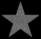 Pixelated White Confetti Star Icon On A Black Background. Vector Halftone Composition Of Confetti St poster