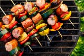 Grilled Skewers Of Meat, Sausages And Various Vegetables On A Grill Plate, Outdoors, Top View. Grill poster