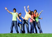 stock photo of young adult  - happy smiling diverse group of youth teens teenagers or young people - JPG