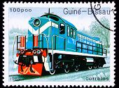 Canceled Guinea-bissau Train Postage Stamp Old Railroad Diesel Engine Locomotive