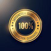 Satisfaction Guarantee Golden Badge And Label Vector Design poster