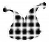 Dot Black Joker Hat Icon. Vector Halftone Pattern Of Joker Hat Pictogram Constructed From Spheric Pi poster