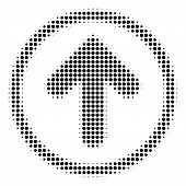 Pixelated Black Rounded Arrow Icon. Vector Halftone Composition Of Rounded Arrow Symbol Made Of Roun poster