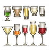 Vector Set Of Different Glassware, 10 Half Full Glass Cups With Colorful Spirit Beverages Various Sh poster