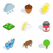 Zoology Icons Set. Isometric Set Of 9 Zoology Vector Icons For Web Isolated On White Background poster