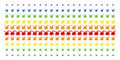 Joker Hat Icon Rainbow Colored Halftone Pattern. Vector Objects Arranged Into Halftone Array With Ve poster
