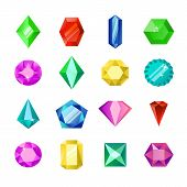 Jewels Or Diamonds Brilliant Vector Set. Cartoon Flat Gems Jewels. Gemstone And Crystal, Precious Gl poster