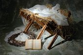stock photo of manger  - The story of Christmas with open Bible to John 3 - JPG