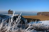 Seasonal Christmas View Of Ballybunion Castle And Beach In Snow