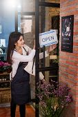 Woman Owner Smiling Florist Stands Holding An Open Sign Small Business. Botany Bouquet Blooming poster